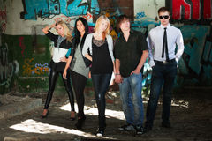 Teens at the abandoned apartment. Royalty Free Stock Photography