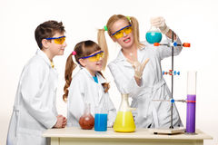 Free Teens And Teacher Of Chemistry At  Lesson Making Stock Photos - 52832063