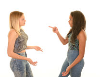 Teens arguing. Teen girls engaged in an argument or fight Stock Images