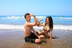 Teens on beach Stock Photo