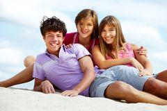 Teens on the beach Stock Photo
