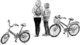 Teens with the bicycles. Vector drawing of the teenagers on a resting Royalty Free Stock Images