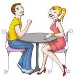 Teens on cafe 02. Two teenage on cafe with talking Royalty Free Stock Image