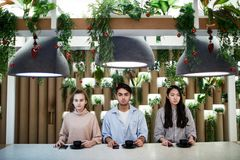 Teens in cafe royalty free stock photography