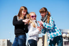 Young girls on the city street Royalty Free Stock Photo