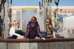 Teens on a city street Stock Photography