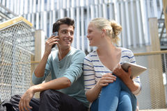 Teens in college campus Royalty Free Stock Image