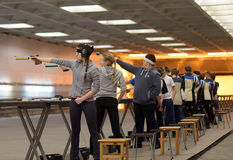 Teens  compete in shooting. Teens to compete in shooting, shooting DOSAAF, St. Petersburg, Russia Stock Photography