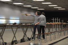 Teens  compete in shooting. Teens to compete in shooting, shooting DOSAAF, St. Petersburg, Russia Stock Images