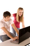 Teens on computer Royalty Free Stock Photo