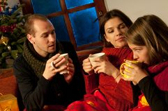 Teens drinking tea Stock Images