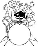 Teens With Drum Set Royalty Free Stock Photography