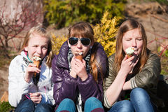 Young girls eating an ice cream. Teenage girls eating an ice cream in a park Stock Image