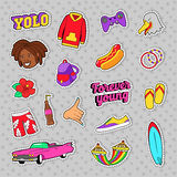 Teens Fashion Set with Pink Car, Fast Food and Colorful Clothes for Stickers, Badges royalty free illustration
