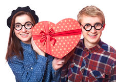Teens with gift. Stock Image