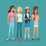 Teens girl group student fashion hat sunglasses Stock Photo