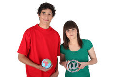 Teens with globe Stock Photo