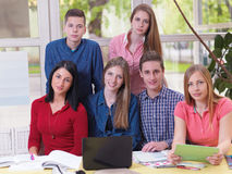 Teens group in school Stock Photo