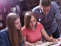 Teens group in school Stock Image
