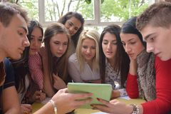 Teens group in school Royalty Free Stock Image