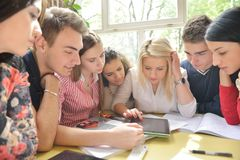 Teens group in school Royalty Free Stock Photography