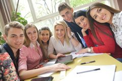 Teens group in school Stock Photography