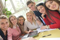Teens group in school Stock Images