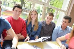 Teens group in school Royalty Free Stock Photo