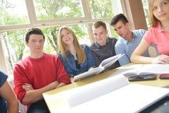 Teens group in school Stock Images