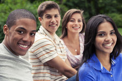 Teens hanging out together stock photo