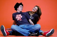Teens Having Fun. Two teens having fun together stock image