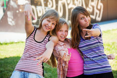 Young girls having a fun outdoor Stock Photography