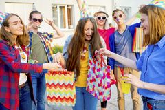 Teens having a party. Group of teens are having a birthday party Royalty Free Stock Image