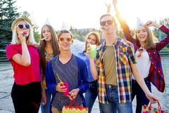 Teens having a party. Group of teens are having a birthday party Royalty Free Stock Images