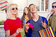 Teens having a party. Group of teens are having a birthday party Royalty Free Stock Photo