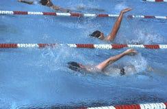 Teens in a high school swim meet royalty free stock image