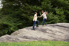 Teens hiking in park Royalty Free Stock Photo