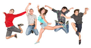 Teens jumping Royalty Free Stock Photo