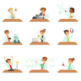 Teens In Lab Coats Doing Science Research Dreaming Of Becoming Professional Scientists In The Future Set Of Cartoon Royalty Free Stock Photos