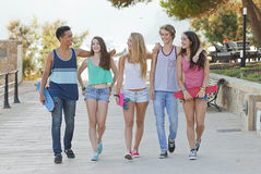 Teens in Majorca or Mallorca. Happy group of teens in Majorca or Mallorca Royalty Free Stock Photography