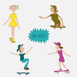 Teens male and female skaters in action. Royalty Free Stock Photography
