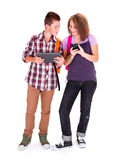 Teens with mobile devices Stock Photos