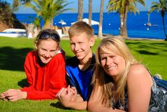 Teens with mother. On Catalina Island Royalty Free Stock Photo