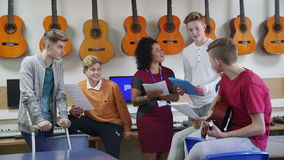 Teens In A Music Lesson stock footage