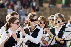 Teens musicians. German Teenager Brass Band, on photo section flutes. Photo was taken during a Sunday concert in the park Guell in Barcelona 28.04.2010 in Stock Photography