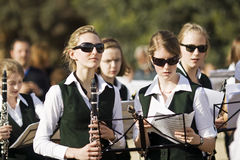 Teens musicians. German Teenager Brass Band, on photo clarinet section. Photo was taken during a Sunday concert in the park Guell in Barcelona 28.04.2010 in Stock Images