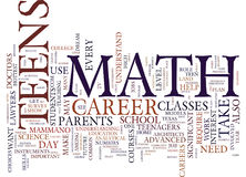 Teens Need Math To Land Dream Jobs Text Background  Word Cloud Concept Royalty Free Stock Photos