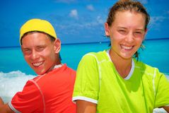 Teens by the ocean Royalty Free Stock Photo