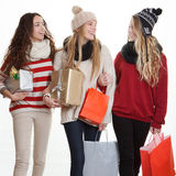 Teens with party gifts Royalty Free Stock Images