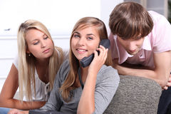 Teens on the phone Royalty Free Stock Photos